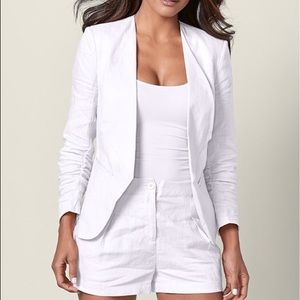 Linen Blazer shorts Set - White